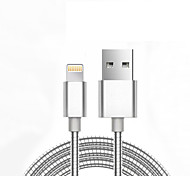 abordables -USB 2.0 Trenzado Normal Cable Para Apple iPhone iPad 98 cm Metal Aluminio