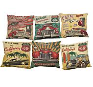 """набор из 6 новых ретро ретро автомобилей печатных подушки покрытия льняной хлопчатобумажной подушки случае (18 """"* 18"""")"""
