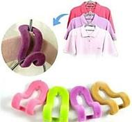 cheap -4Pcs Magic Clothes Hanger With Hook Closet Organizer 3D Space Saving Hanger  Random Color