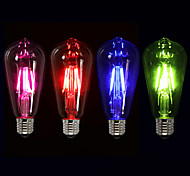 cheap -1pc 4W 360lm E26 / E27 LED Filament Bulbs ST64 4 LED Beads COB Decorative Pink / Green / Blue 220-240V