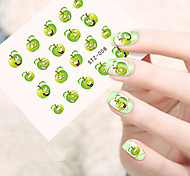 5pcs/set Clear Style Hot Fashion Nail Art Water Transfer Decals Lovely Green Apple Expression  Cute Fruit Expression Nail Beauty DIY Design STZ-008