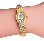 Недорогие -Женские Модные часы Часы-браслет Японский кварц Имитация Алмазный Кварцевый Группа Блестящие Элегантные часы Серебристый металл Золотистый
