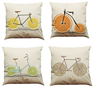 cheap -4 pcs Linen Natural / Organic Pillow Case Pillow Cover, Solid Colored Textured Beach Style Traditional / Classic Office / Business Modern