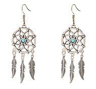 cheap -Women's Single Strand Pendant / Dangle Earrings - Feather Unique Design, Dangling Style, Tassel Silvery For Daily / Casual