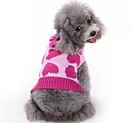 Недорогие -Кошка Собака Плащи Свитера Комбинезоны Одежда для собак С сердцем Розовый Акриловые волокна Костюм Для домашних животных Муж. Жен.