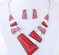 preiswerte -Damen Schmuck-Set 1 Halskette / 1 Paar Ohrringe - Euramerican / Modisch Geometrische Form Rot / Blau Schmuckset Für Party / Alltag