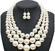 Damen Schmuckset Euramerican Hochzeit Party Besondere Anlässe Alltag Normal Perle Kreisförmig 1 Halskette 1 Paar Ohrringe