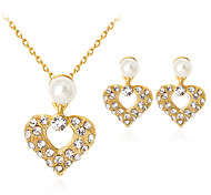 cheap -Women's Imitation Pearl / Rhinestone / Gold Plated Heart Jewelry Set 1 Necklace / 1 Pair of Earrings - Classic / Fashion Gold Jewelry Set