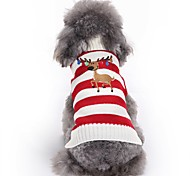 Cat Dog Coat Sweater Dog Clothes Winter Spring/Fall Reindeer Cute Fashion Christmas Green Pink Stripe