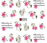 10pcs/set Sweet Style Beautiful Flower Design Nail Art Sticker Beautiful Nail Water Transfer Decals Nail DIY Design A294
