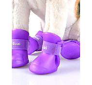 Cat Dog Shoes & Boots Cute Waterproof Reversible Windproof Fashion Sports Solid Orange Purple Yellow Green For Pets