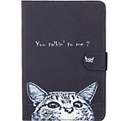 Для яблока ipad mini 4 3 2 1 случай крышка кошка узор окрашенный карта стент кошелек pu кожа материал плоская защитная оболочка