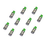 10pcs t10 9 * 5050 smd ha condotto la luce verde dc12v della lampadina dell'automobile