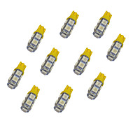 10Pcs T10 9*5050 SMD LED Car Light Bulb Yellow Light DC12V