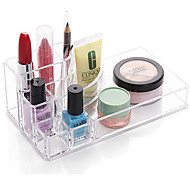 cheap -Acrylic Transparent Portable Quadrate Solid Cosmetics Makeup Storage Stand Makeup Brush Pot Cosmetic Organizer for Lipstick Eyeliner Nail Polish