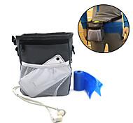 Dog Bowls & Treat Pouch Bag Pet Bowls & Waste Bag  Feeding Training Waterproof Portable Gray