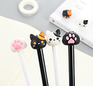12 PCS Cat Paw  Black Ink Colors Gel Pen Set