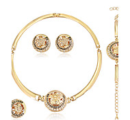 cheap -Women's Jewelry Set Necklace/Ring Earrings/Bracelet Rhinestone Alloy Round Geometric Euramerican Fashion Wedding Party Special Occasion