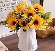 cheap -7Bifurcate/ Bouquet Sunflowers Babysbreath Tie-In Bouquet  Artificial Flowers
