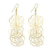 cheap -New Arrival Fashion Vintage Beautiful Plated Gold/Silver Hollow Rose Flower Drop Earrings For Women Dangle Long Earrings Wedding Jewelry