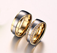 Women's Couple Rings AAA Cubic Zirconia Imitation Diamond Love Bridal Zircon Titanium Steel Gold Plated Love Jewelry For Wedding