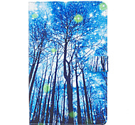 For Samsung Galaxy Tab E 9.6 Case Cover Blue Woods Pattern Painted Card Stent Wallet PU Skin Material Flat Protective Shell