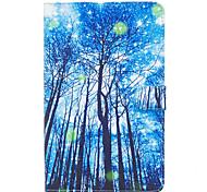 Недорогие -Для samsung galaxy tab e 9.6 обложка синий узор по дереву покрашенный карта стент кошелек pu кожа материал плоский защитный чехол
