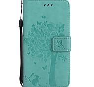 Недорогие -Кейс для Назначение SSamsung Galaxy J7 Prime J5 Prime Кошелек Бумажник для карт со стендом Флип Рельефный С узором Чехол Кот дерево