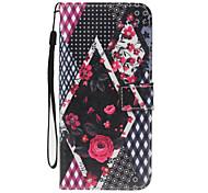 Недорогие -Для футляра для футляра для визитных карточек кошелек с подставкой флип-патч полный корпус корпус цветок твердый кожа pu для яблока iphone