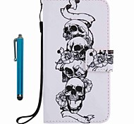For Case Cover Card Holder Wallet with Stand Flip Pattern Full Body Case With Stylus Skull Hard PU Leather for Apple iPhone 7 Plus 7 6s Plus 6s 5s