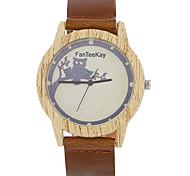 Luxury Brand Bamboo Owl Watches Relogio Masculino Wood Wristwatch Quartz Fashion Watch Leather Clock