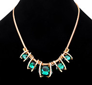 cheap -Women's Crystal Statement Necklace  -  Geometric Unique Design Square Dark Blue Dark Green Necklace For Party Daily Casual