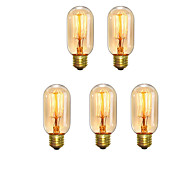 5pcs T45 Z Vintage Edison Bulbs 40W E27 Warm White Antique Style Squirrel Cage Filament Retro Lights AC220-240V