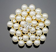 Women's Girls' Brooches Flower Style Flowers Floral Pearl Crystal Alloy Flower Jewelry For Wedding Party Special Occasion Daily