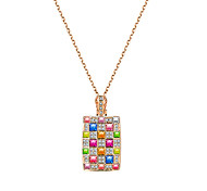 lureme® Women's Pendant Necklaces Crystal Square Crystal Alloy Unique Design Logo Style Dangling Style Fashion Hypoallergenic USA Carved Elegant