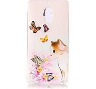 Недорогие -Кейс для Назначение Nokia Прозрачный С узором Рельефный Кейс на заднюю панель Кот Бабочка Цветы Мягкий ТПУ для Nokia 6