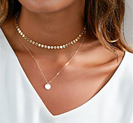 Women's Choker Necklaces Lariat Y Necklaces Jewelry Geometric Copper Dangling Style Pendant Euramerican Fashion Personalized Silver Gold