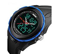 baratos -SKMEI Homens Relógio Esportivo Relógio de Pulso Digital Alarme Calendário Impermeável LCD Dois Fusos Horários Cronômetro Borracha Banda