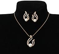 preiswerte -Damen Strass Künstliche Perle / Strass Tropfen Schmuck-Set 1 Halskette / 1 Paar Ohrringe - Grundlegend Gold Schmuckset Für Hochzeit /