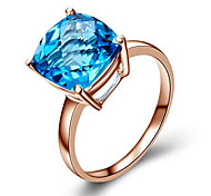 cheap -Women's Ring Synthetic Diamond Fashion Rose Gold Cubic Zirconia Silver Plated Square Cut Costume Jewelry Birthday Congratulations Gift