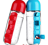 Creative Portable Sports Drink Shaker Water Bottle Combine with Built-in Daily Pill Vitamin Box Organizer Leak-Proof Tumbler Plastic Drinkware 600ML