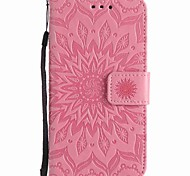 For LG K7 K4 Sunflowers Embossed PU Phone Case for V10 Xpower NEXUS 5X