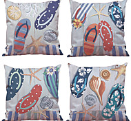 cheap -4 pcs Natural/Organic Polyester Pillow Case Pillow Cover, Solid Floral Plaid Textured Casual Beach Style Euro Bolster Traditional/Classic