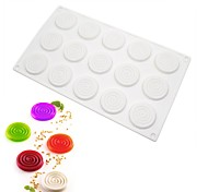 cheap -15Cavities White Silicone Mousse Cake Mold Spiral Mosquito Coils Shape Fondant Cake Chocolate Pastry Tool Kitchen DIY Baking Pan m-46