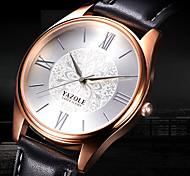 Недорогие -YAZOLE Муж. Повседневные часы Модные часы Наручные часы Кварцевый Кожа Группа Цветы На каждый день Elegant Cool Черный Коричневый