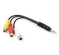 cheap -3.5mm Plug to 3-RCA Female AV Adapter Cable - Black + Yellow + White + Red (16cm)