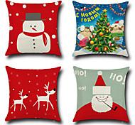 Set Of 4 Merry Christmas Design Reindeer Snowman Pillow Cover Cotton/Linen Creative Pillow Case 45*45Cm Cushion Cover