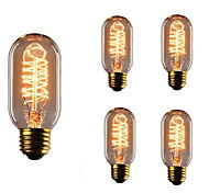 5pcs T45 E27 40W Incandescent Vintage Edison Light Bulb For Restaurant Club Coffee Bars Light AC110-130V