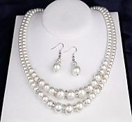 cheap -Women's Imitation Pearl Pearl Jewelry Set 1 Necklace / 1 Pair of Earrings / 1 Bracelet - Double-layer Round White Bridal Jewelry Sets For