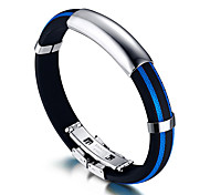Men's ID Bracelets Rock Costume Jewelry Fashion Hip-Hop Silicone Titanium Steel Circle Round Jewelry For Birthday Gift Sports Christmas